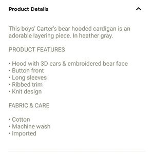 Carter's Shirts & Tops - Carter's Hooded Bear Cardigan